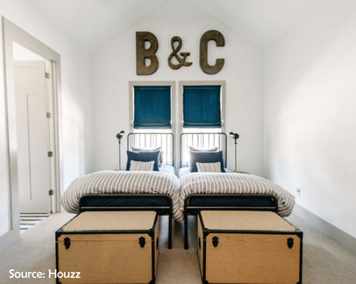 side by side beds shared room for boys