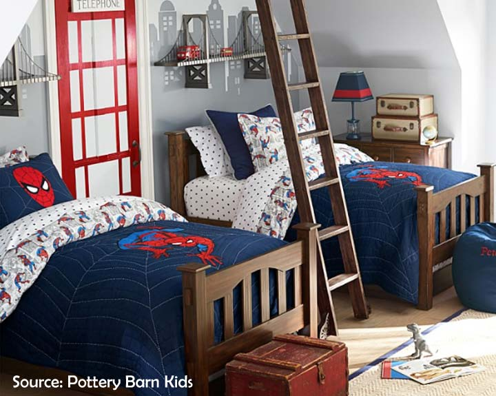 spiderman themed shared room for boys