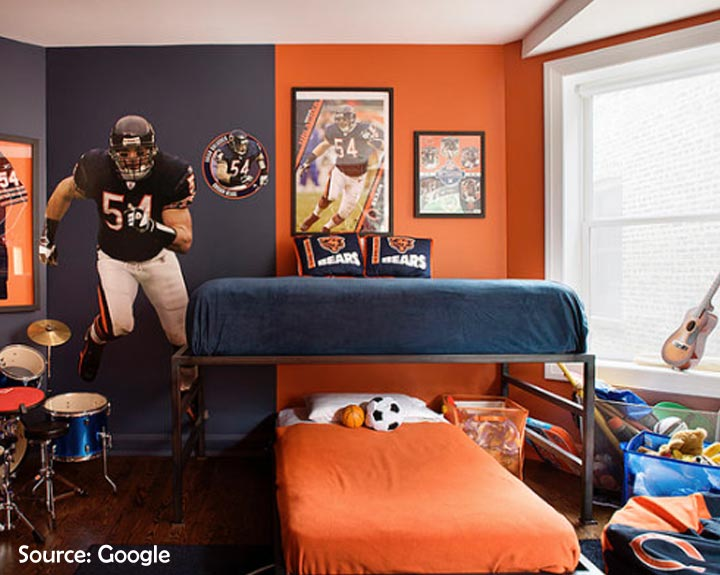 sports themed shared room for boys