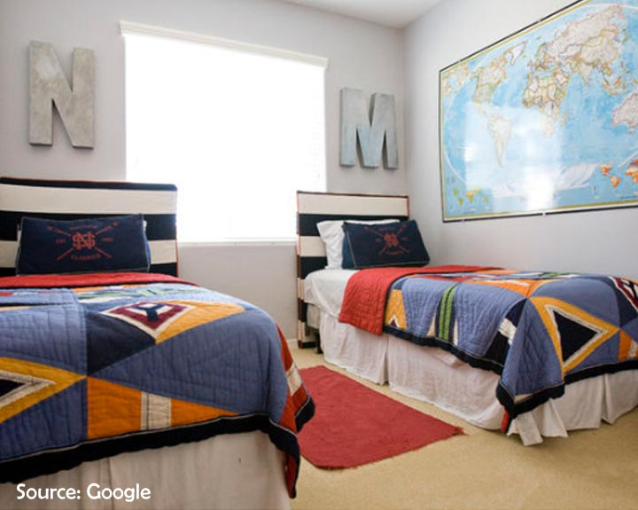 world map themed shared room for boys